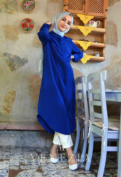 VENEZİA WEAR - Venezia Wear Düz Renk Gömlek - Saks (1)