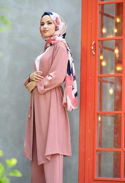 VENEZİA WEAR - Venezia Wear Düz Renk Kimono Takım - Gül Kurusu (1)