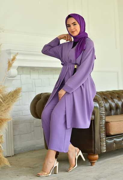 VENEZİA WEAR - Venezia Wear Düz Renk Kimono Takım - Lila (1)