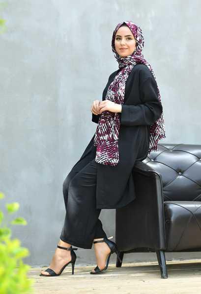 VENEZİA WEAR - Venezia Wear Düz Renk Kimono Takım - Siyah (1)