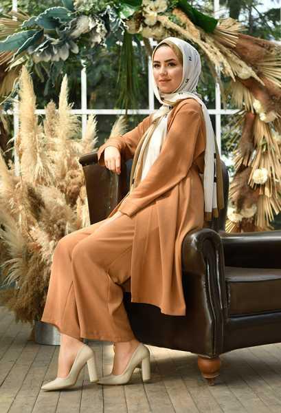 VENEZİA WEAR - Venezia Wear Düz Renk Kimono Takım - Toprak (1)