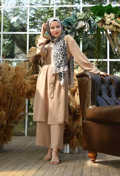VENEZİA WEAR - Venezia Wear Düz Renk Kimono Takım - Vizon (1)