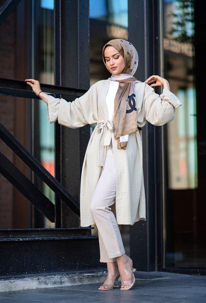 VENEZİA WEAR - Venezia Wear Düz Renk Kuşaklı Kimono - Vizon (1)