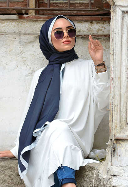 VENEZİA WEAR - Venezia Wear Düz Renk Şeritli Pamuk Şal - Lacivert (1)