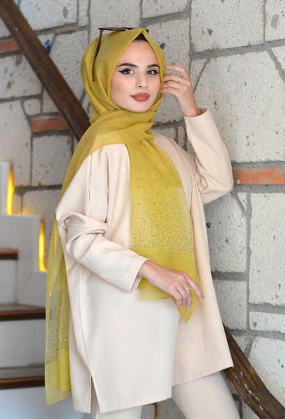 VENEZİA WEAR - Venezia Wear Düz Renk Tül Taşlı Şal - Sarı (1)