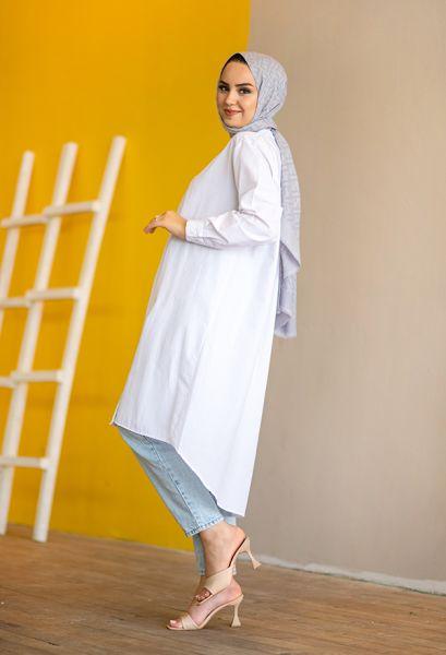 VENEZİA WEAR - Venezia Wear Düz Renk Uzun Gömlek - Beyaz (1)