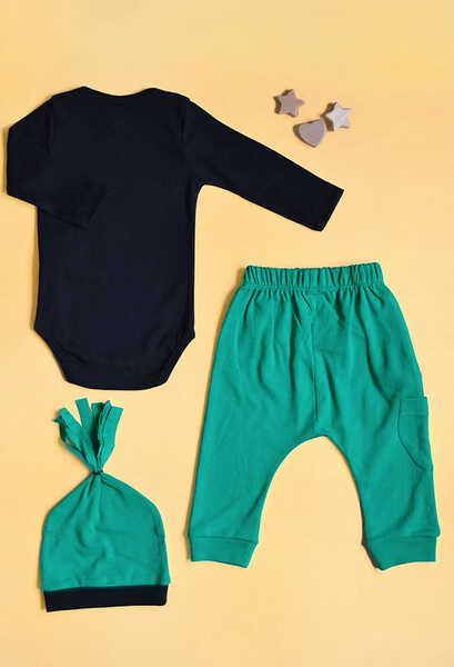 VENEZİA WEAR - Venezia Wear Erkek Bebek Köpekli 3'lü Takım - Yeşil (1)