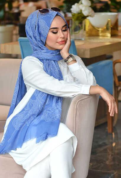 3 Şal 100 TL - Venezia Wear Etnik Desen Cotton Şal - Kot Mavisi (1)