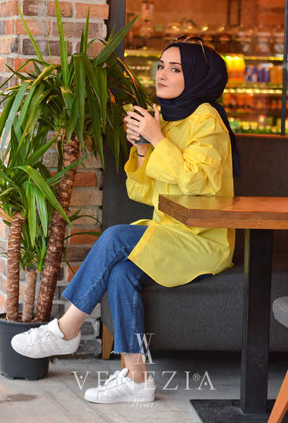 VENEZİA WEAR - Venezia Wear Fırfır Kol Gömlek - Sarı (1)