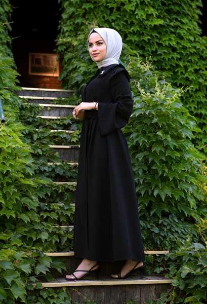 VENEZİA WEAR - Venezia Wear Fırfır Yaka Kap - Siyah (1)