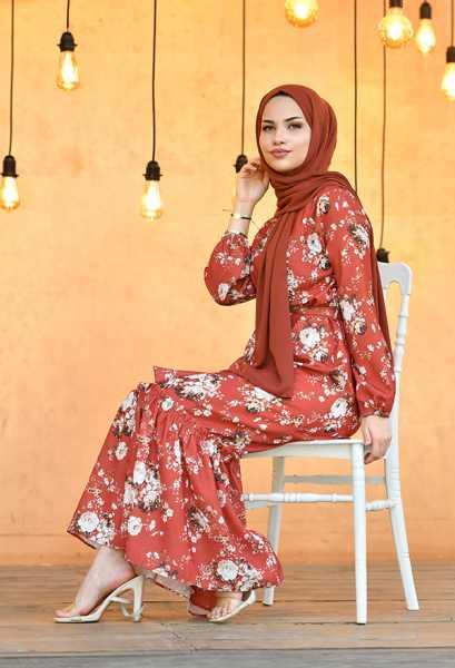 VENEZİA WEAR - Venezia Wear Fırfırlı Çiçek Desenli Elbise - Tarçın (1)