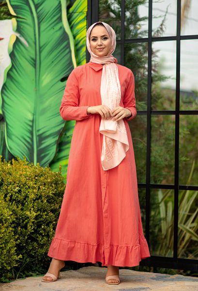 VENEZİA WEAR - Venezia Wear Fırfırlı Gömlek Elbise - Nar Çiçeği (1)