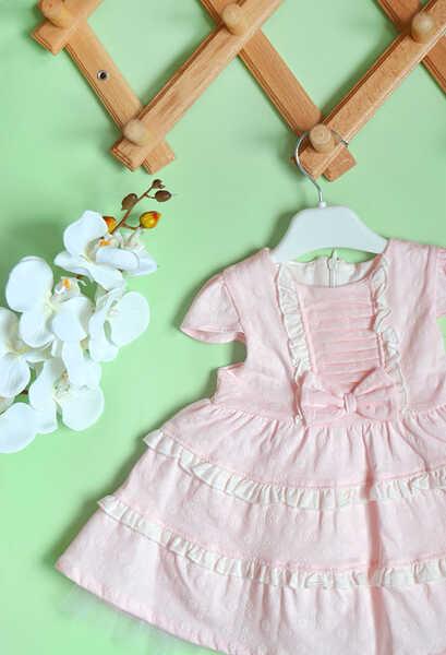 VENEZİA WEAR - Venezia Wear Fırfırlı Kız Çocuk Elbise - Pembe (1)