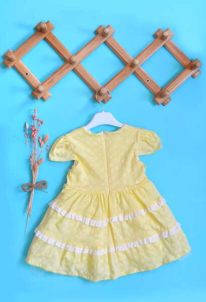 VENEZİA WEAR - Venezia Wear Fırfırlı Kız Çocuk Elbise - Sarı (1)