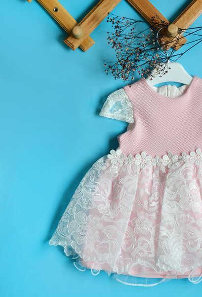 VENEZİA WEAR - Venezia Wear Dantel Çiçekli Kız Çocuk Elbise - Pembe (1)