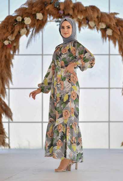 VENEZİA WEAR - Venezia Wear Gül Desen Fırfırlı Elbise - Gri (1)