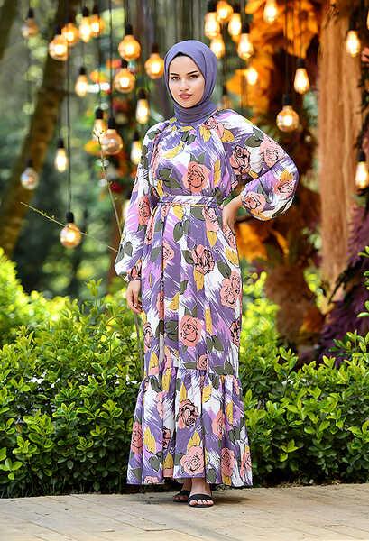 VENEZİA WEAR - Venezia Wear Gül Desen Fırfırlı Elbise - Lila (1)