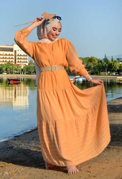 VENEZİA WEAR - Venezia Wear Hasır Kemerli Elbise - Kavuniçi (1)