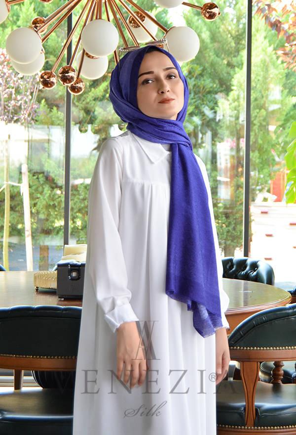 Venezia Wear Hologram Batik İpek Şal - Saks Mavi