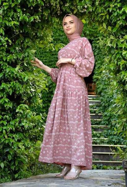 VENEZİA WEAR - Venezia Wear İşlemeli Beli Büzgülü Elbise - Gül Kurusu (1)