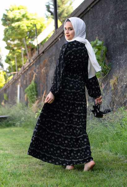 VENEZİA WEAR - Venezia Wear İşlemeli Beli Büzgülü Elbise - Siyah (1)
