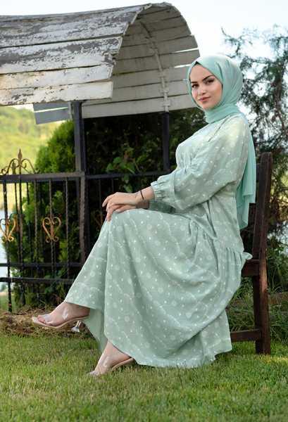 VENEZİA WEAR - Venezia Wear İşlemeli Beli Büzgülü Elbise - Su Yeşili (1)