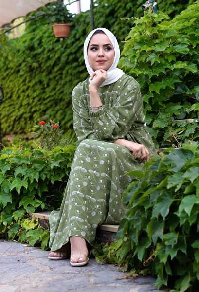 VENEZİA WEAR - Venezia Wear İşlemeli Beli Büzgülü Elbise - Yeşil (1)