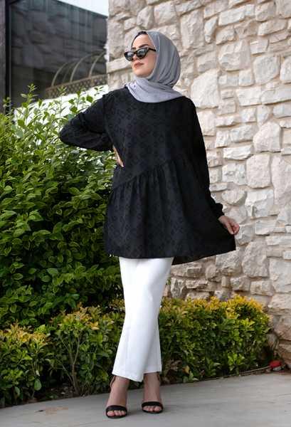 VENEZİA WEAR - Venezia Wear İşlemeli Fırfır Tunik - Siyah (1)