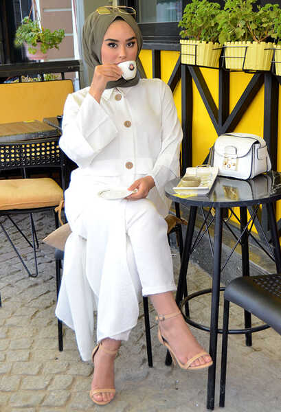 VENEZİA WEAR - Venezia Wear İspanyol Kol Tunik - Beyaz (1)