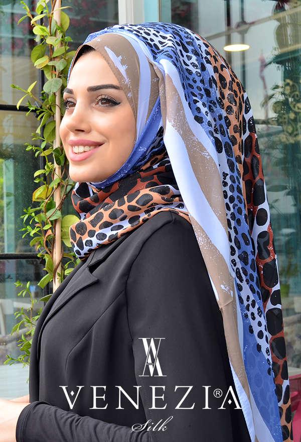 VENEZİA WEAR - Venezia Wear Karma Desen Şifon Şal - Kot Mavisi (1)