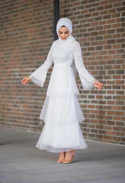 VENEZİA WEAR - Venezia Wear Kat Kat Tül Elbise - Beyaz (1)