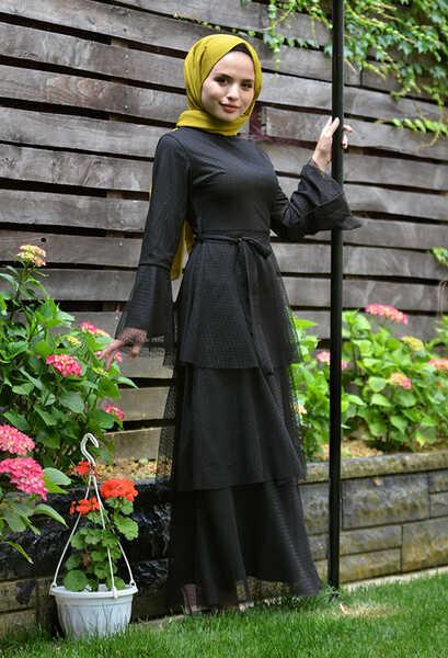 VENEZİA WEAR - Venezia Wear Kat Kat Tül Elbise - Siyah (1)