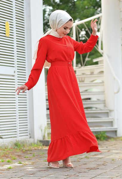 VENEZİA WEAR - Venezia Wear Kemer Detaylı Elbise - Kırmızı (1)