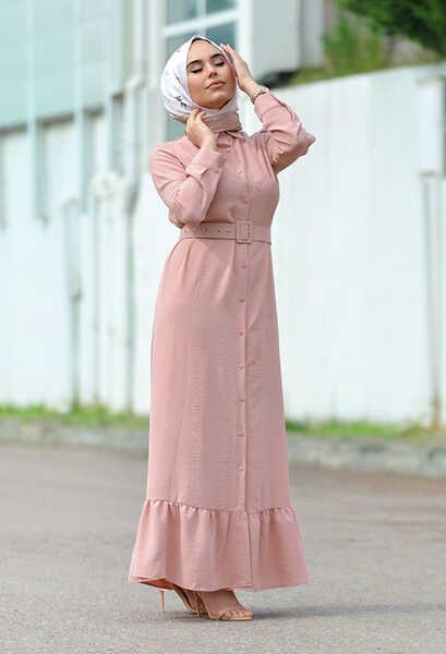 VENEZİA WEAR - Venezia Wear Kemer Detaylı Elbise - Pudra (1)