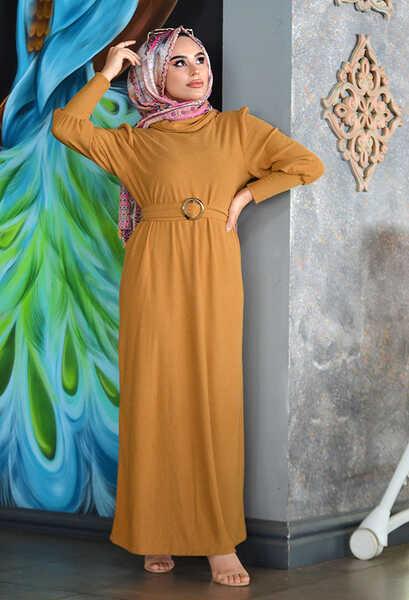 VENEZİA WEAR - Venezia Wear Kemer Detaylı Triko Elbise - Hardal (1)