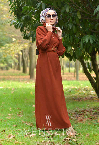 VENEZİA WEAR - Venezia Wear Kemer Detaylı Triko Elbise - Kiremit (1)
