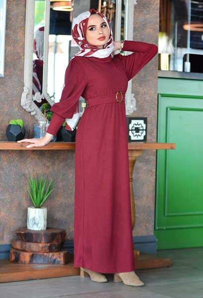 VENEZİA WEAR - Venezia Wear Kemer Detaylı Triko Elbise - Vişne Çürüğü (1)