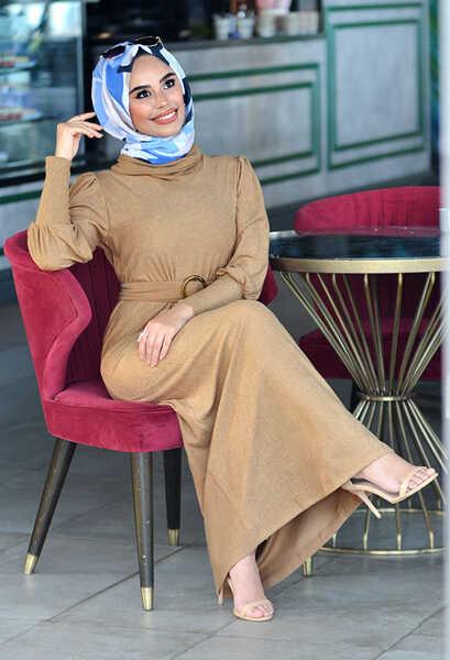 VENEZİA WEAR - Venezia Wear Kemer Detaylı Triko Elbise - Vizon (1)