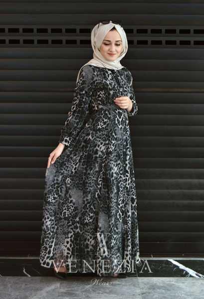 VENEZİA WEAR - Venezia Wear Damga Desen Kemerli Elbise - Füme (1)