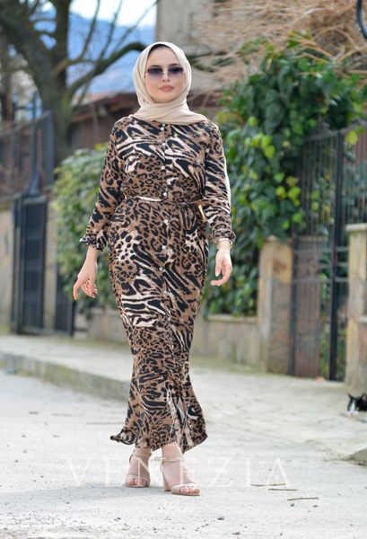 VENEZİA WEAR - Venezia Wear Kemerli Gömlek Elbise - Kahve (1)