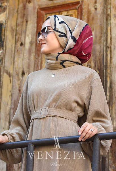 VENEZİA WEAR - Venezia Wear Kemerli Kadife Elbise -Vizon (1)