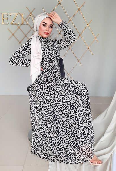 VENEZİA WEAR - Venezia Wear Damga Desen Kemerli Elbise - Beyaz (1)