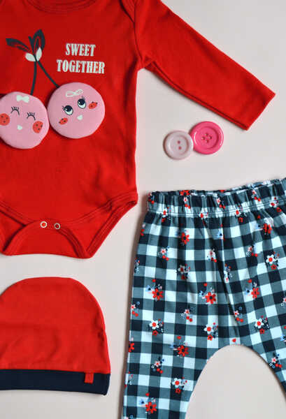 VENEZİA WEAR - Venezia Wear Kız Bebek Kirazlı 3'lü Takım - Kırmızı (1)