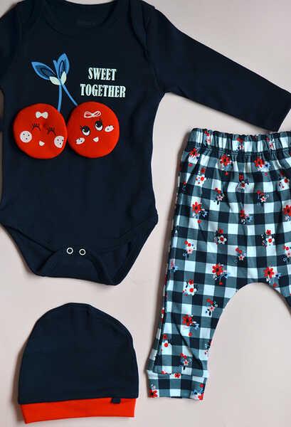 VENEZİA WEAR - Venezia Wear Kız Bebek Kirazlı 3'lü Takım - Lacivert (1)