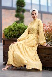 Venezia Wear Kolları Büzgülü Kat Kat Elbise - Sarı - Thumbnail