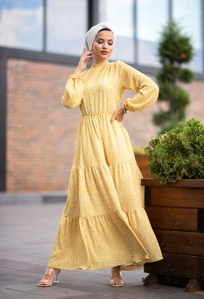 VENEZİA WEAR - Venezia Wear Kolları Büzgülü Kat Kat Elbise - Sarı (1)