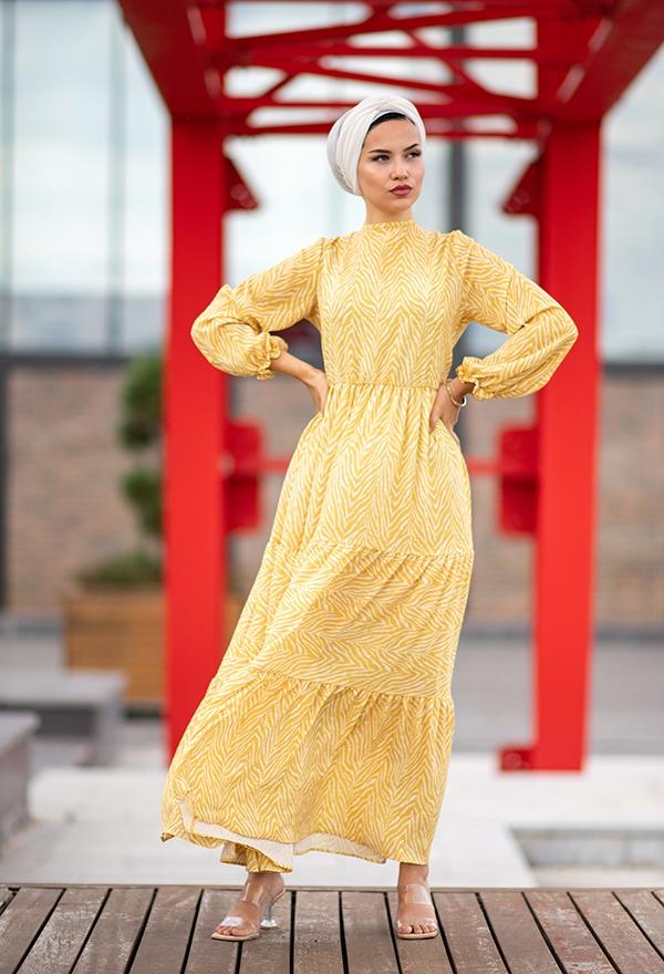 Venezia Wear Kolları Büzgülü Kat Kat Elbise - Sarı