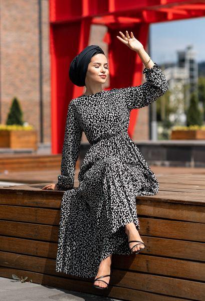 VENEZİA WEAR - Venezia Wear Kolları Büzgülü Kat Kat Elbise - Siyah (1)