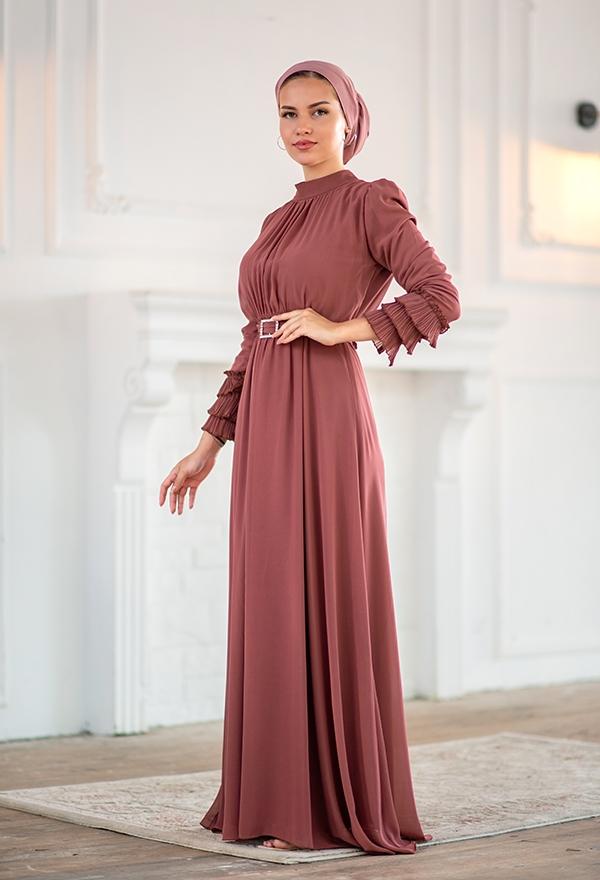 Venezia Wear Kolu Büzgülü Abiye Elbise - Gül Kurusu
