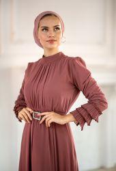 Venezia Wear Kolu Büzgülü Abiye Elbise - Gül Kurusu - Thumbnail